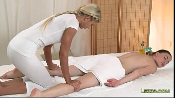dark-haired gets feet and bosoms rubdown