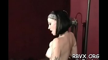 breasty damsel gets her boobies belted taut as.