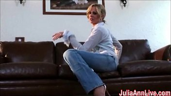beautiful cougar julia ann spunks from glass faux penis