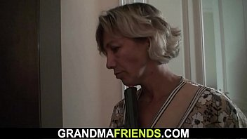 older gal takes two stiff-ons from.