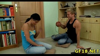 yummy-looking nubile gal takes firm penis of stranger.