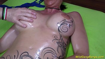 phat-boobed lubricated tatted cougar gang-romped