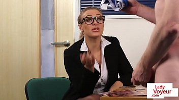 office gal dom abases dude while providing jerk.