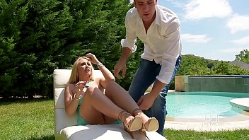 sunshine foot fuckin' - steaming large-chested stunner receives.