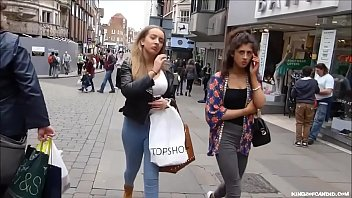 candid - silver-blonde teenie with uber-sexy forms in jeans