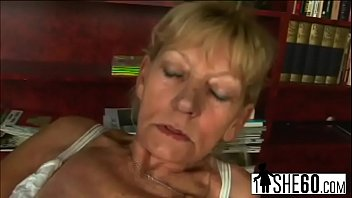 filthy blond granny gets romped before gargling off.