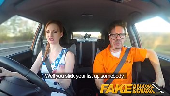 faux driving school rosy nips phat breasts ginger-haired.