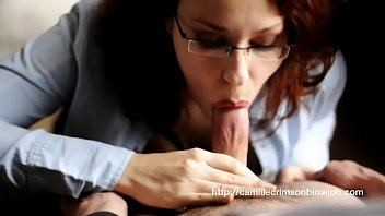 camille crimson sensuous oral job and currency-shot in glasses