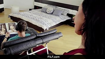 filf - lily lane catches stepson tugging off.