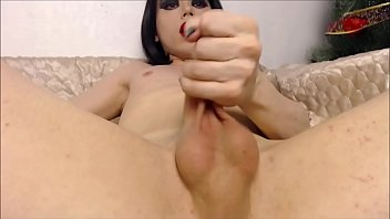 incredible dark haired she-masculine milking her chisel.