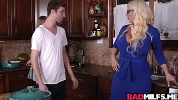 mischievous mummy and nubile threeway nail at the kitchen