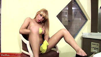 blond gal with nads undresses and unleashes her.