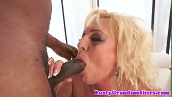 pussyfucked grandmother stretches her gams for immense ebony prick