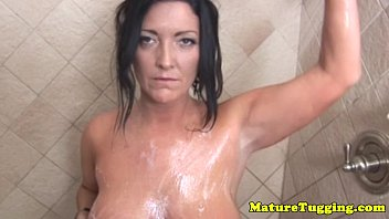 soapy hand job cougar in douche.