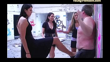 three youthful girl dom femmes in activity -.