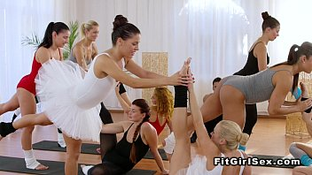 two ballerinas share screw-stick in the.
