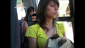 killer gal on bus candid