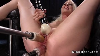 monstrous-chested blondie dual foray machine