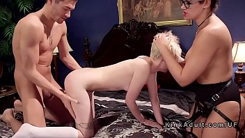 mother takes damsel for three-way assfuck.
