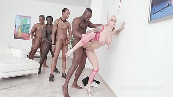 feisty mila milan treats five ebony stiffys with.