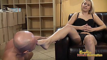 blondes tells subjugated to munch and gobble feet three