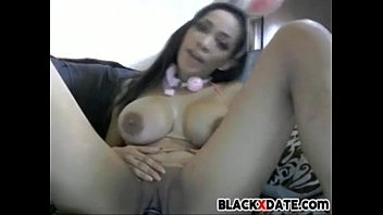 large-titted ebony honey jacks with fucktoy in her labia
