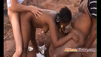 brief haired ebony nymph gets screwed by two.
