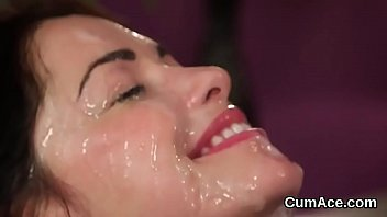 peculiar stunner gets jizz explosion on her face.