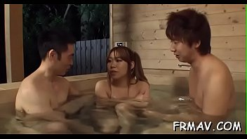 nice japanese merely gives good deep mouth during trio