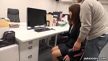 pantyhosed japanese assistant receives a mouthhole after being.