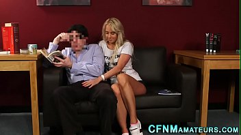 clothed silver-blonde gives head