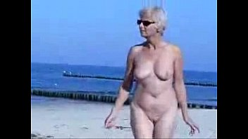 grannie completely nude at beach