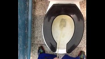 fresh yellow morning urinate in a public rest room