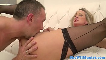 silver-blonde cougar pussylicked and boned on.