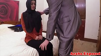 unexperienced hijab arab spanked before cockriding