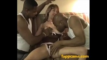 32-bitchy milky mummy creampied by two monstrous dark-hued pipe