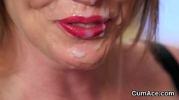 crazy babe gets jizm fountain on her face.