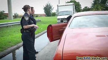 interracial outdoor 3 way ravaging with steamy cops.