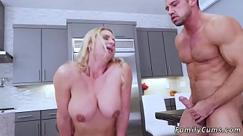 lovely brief haired cougar army boy meets buxomy step-mother