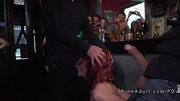 torrid ginger-haired sub serves crowded club