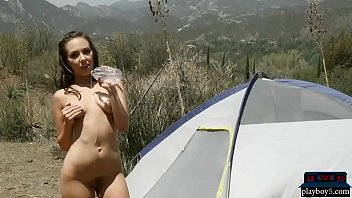 inborn dark haired stunner gets nude outdoor while camping