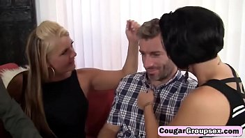 gang-plow with crimson-hot cougar with huge knockers and.